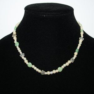 """16"""" pearl necklace with stars and hearts"""
